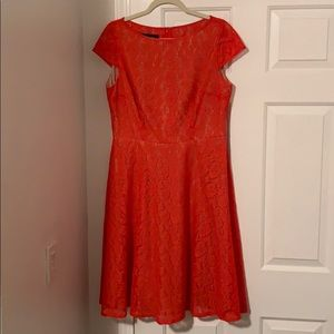 Red lace, cap sleeve, flare dress 12
